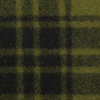 ウール&ナイロン×チェック(カーキグリーン&ブラック)×フラノ(フランネル)