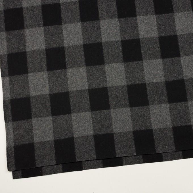 ウール×チェック(グレー&ブラック)×フラノ(フランネル)_全2色 イメージ2