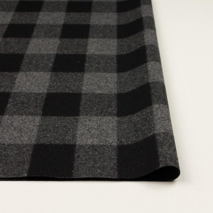 ウール×チェック(グレー&ブラック)×フラノ(フランネル)_全2色 イメージ3