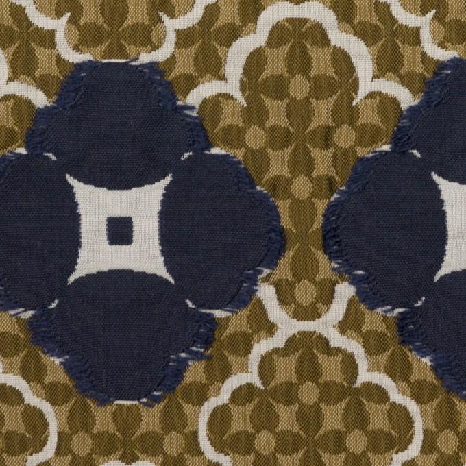 ポリエステル&アクリル混×フラワー(ジンジャー&ネイビー)×フクレジャガード イメージ1