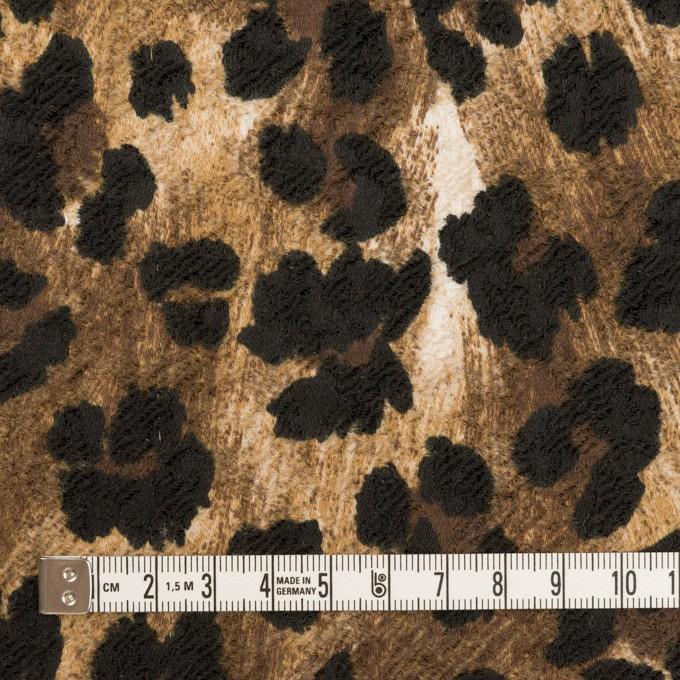 ポリエステル&ポリウレタン×レオパード(ブラウン&ブラック)×ジャガード・ストレッチ イメージ4