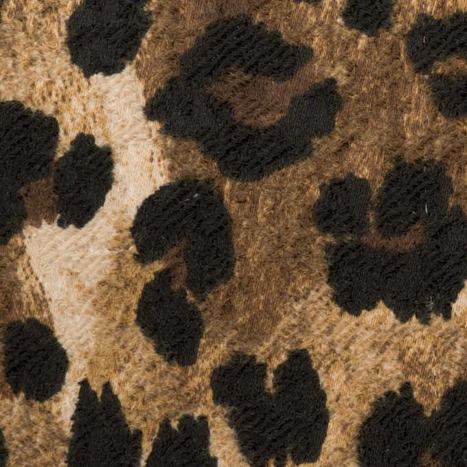 ポリエステル&ポリウレタン×レオパード(ブラウン&ブラック)×ジャガード・ストレッチ イメージ1