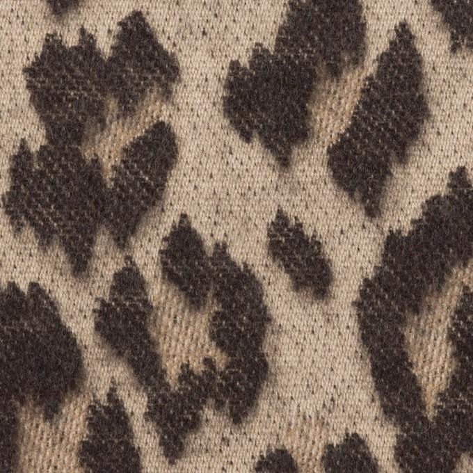 ウール&コットン×レオパード(ベージュ&ダークブラウン)×ジャガード イメージ1