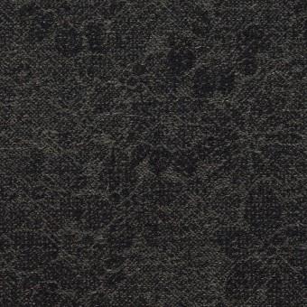 ウール&コットン×フラワー(チャコールグレー&ダークネイビー)×ジャガード
