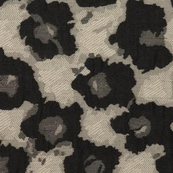 コットン&ポリエステル×フラワー(アイボリー&ブラック)×フクレジャガード