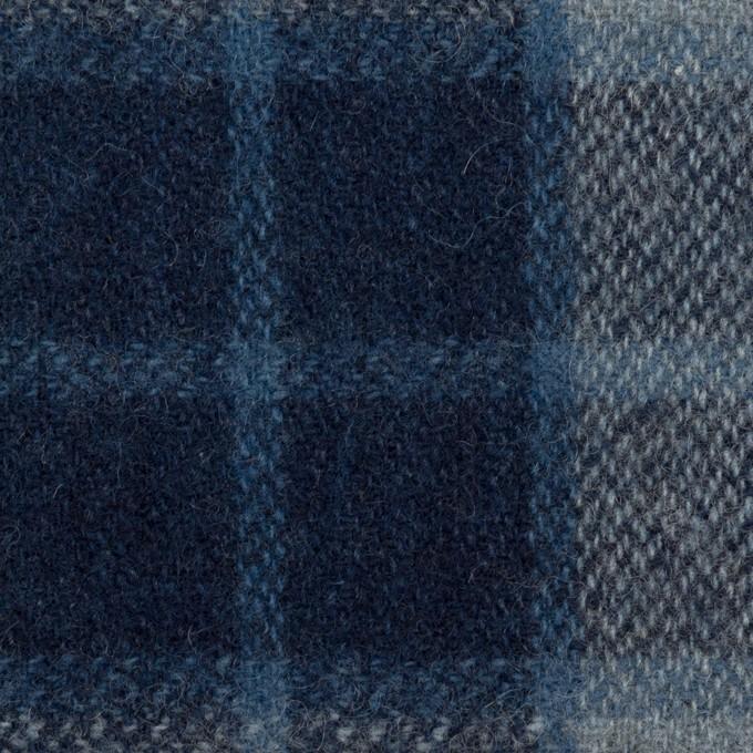 ウール×チェック(ネイビー、ブルーグレー&ダークネイビー)×Wフェイス・ツイード イメージ1