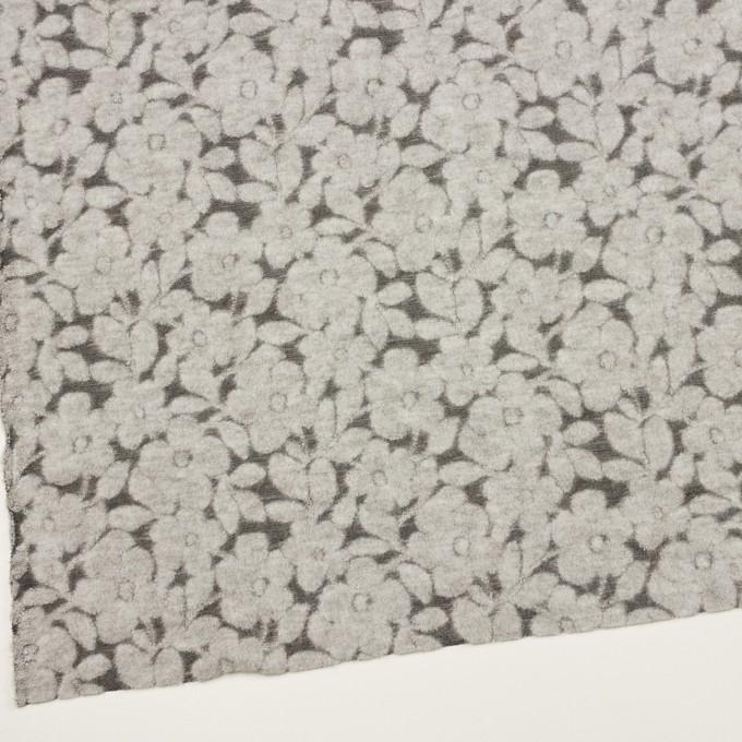 ウール&ナイロン×フラワー(シルバーグレー&チャコール)×ジャガードニット イメージ2