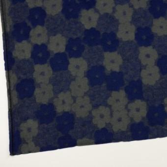 ポリエステル&アクリル混×フラワー(マリンブルー&アッシュカーキ)×ジャガードニット サムネイル2