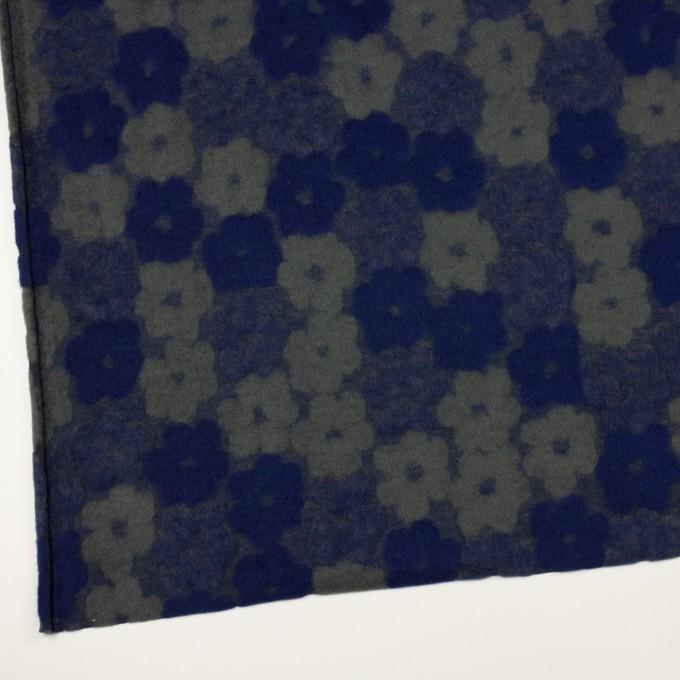 ポリエステル&アクリル混×フラワー(マリンブルー&アッシュカーキ)×ジャガードニット イメージ2