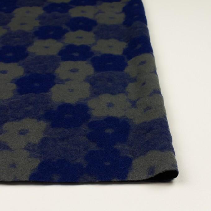 ポリエステル&アクリル混×フラワー(マリンブルー&アッシュカーキ)×ジャガードニット イメージ3