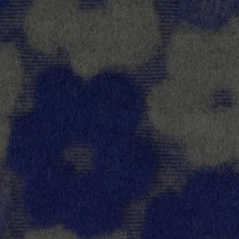 ポリエステル&アクリル混×フラワー(マリンブルー&アッシュカーキ)×ジャガードニット