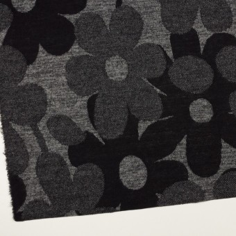 ウール&ポリエステル×フラワー(グレー&ダークネイビー)×ジャガードニット_全3色 サムネイル2