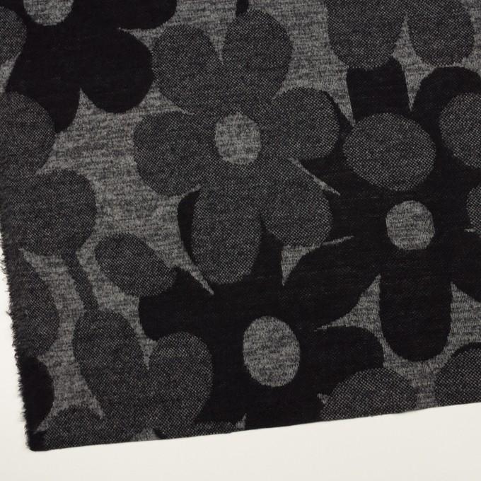 ウール&ポリエステル×フラワー(グレー&ダークネイビー)×ジャガードニット_全3色 イメージ2