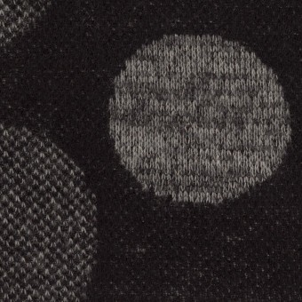 ウール&ポリエステル×フラワー(グレー&ダークネイビー)×ジャガードニット_全3色