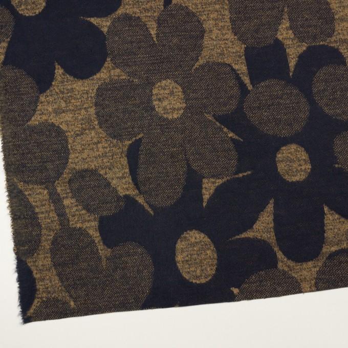 ウール&ポリエステル×フラワー(ナッツ&ネイビー)×ジャガードニット_全3色 イメージ2