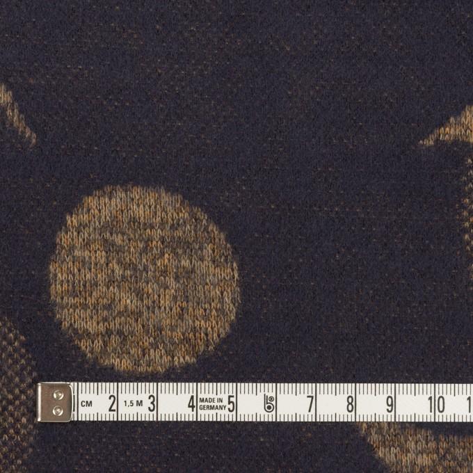 ウール&ポリエステル×フラワー(ナッツ&ネイビー)×ジャガードニット_全3色 イメージ4