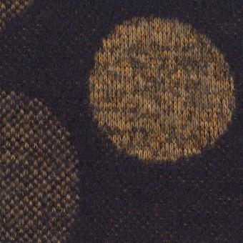 ウール&ポリエステル×フラワー(ナッツ&ネイビー)×ジャガードニット_全3色