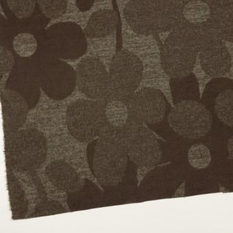 ウール&ポリエステル×フラワー(カーキ&アッシュブラウン)×ジャガードニット_全3色 サムネイル2