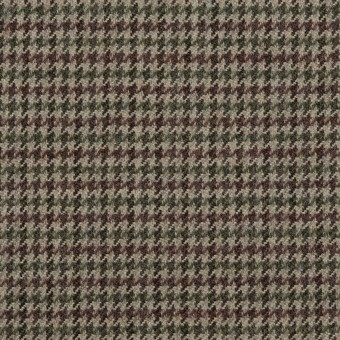 ウール×チェック(エンジ、モスグリーン&グレー)×千鳥格子