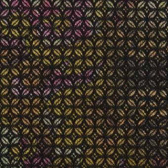 コットン&ポリエステル混×小紋(イエロー&パープル)×ジャガード・ストレッチ