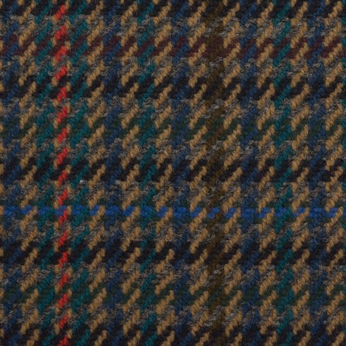 ウール×チェック(ネイビー&クロムグリーン)×カルゼ イメージ1