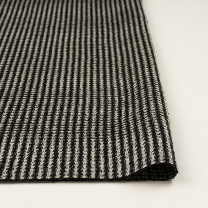 アンゴラ&ウール×ストライプ(ブラック&ホワイト)×シャギー イメージ3