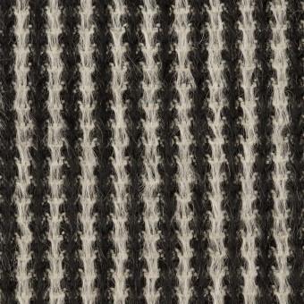 アンゴラ&ウール×ストライプ(ブラック&ホワイト)×シャギー