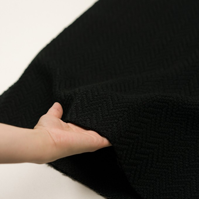 アクリル&ポリエステル混×無地(ブラック)×斜子織 イメージ5