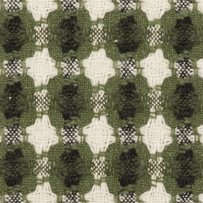 コットン&ポリエステル×フラワー(グリーン)×ドビー_全3色 イメージ1