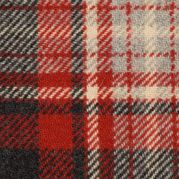 ウール×チェック(レッド&チャコール)×カルゼ イメージ1