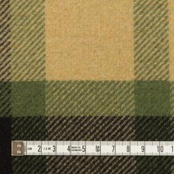 ウール&ナイロン×チェック(ベージュ&グリーン)×厚カルゼ_パネル_全2色 サムネイル4