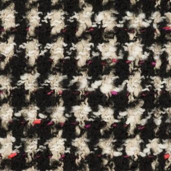 コットン&ウール混×チェック(キナリ、ブラック&チェリー)×ファンシーツイード