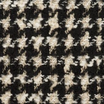 コットン&ウール混×チェック(キナリ&ブラック)×ファンシーツイード