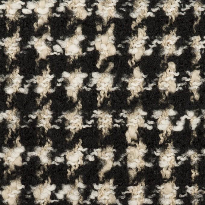 コットン&ウール混×チェック(キナリ&ブラック)×ファンシーツイード イメージ1