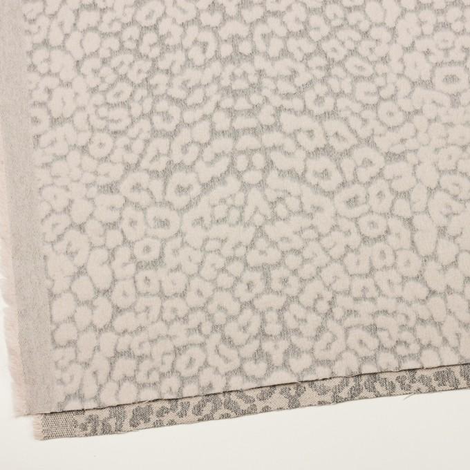 ウール&ポリエステル×レオパード(ピンクベージュ&グレー)×ジャガード イメージ2
