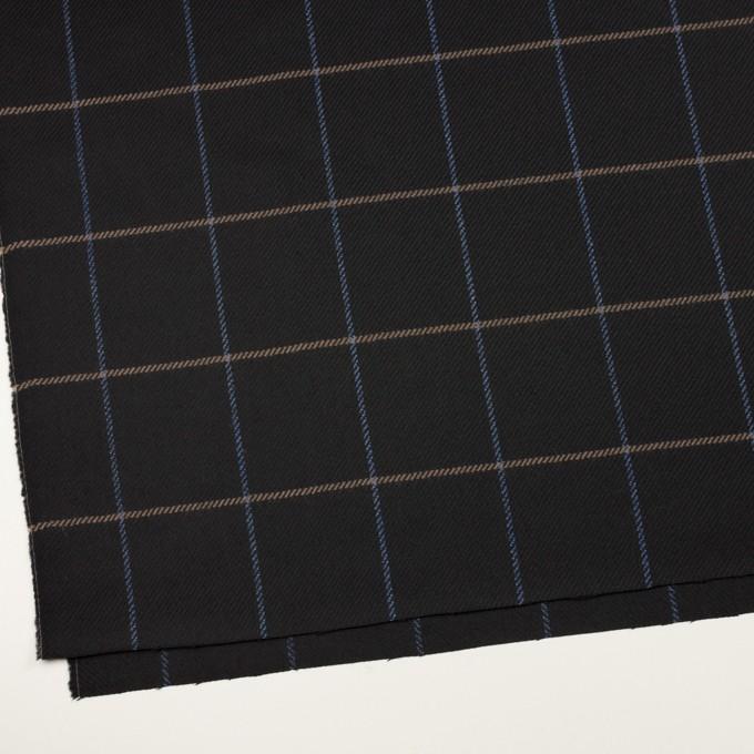ウール×チェック(ブラック、オークル&ブルー)×サキソニー イメージ2