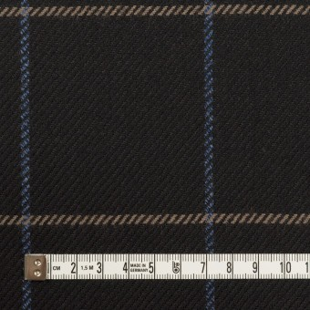 ウール×チェック(ブラック、オークル&ブルー)×サキソニー サムネイル4