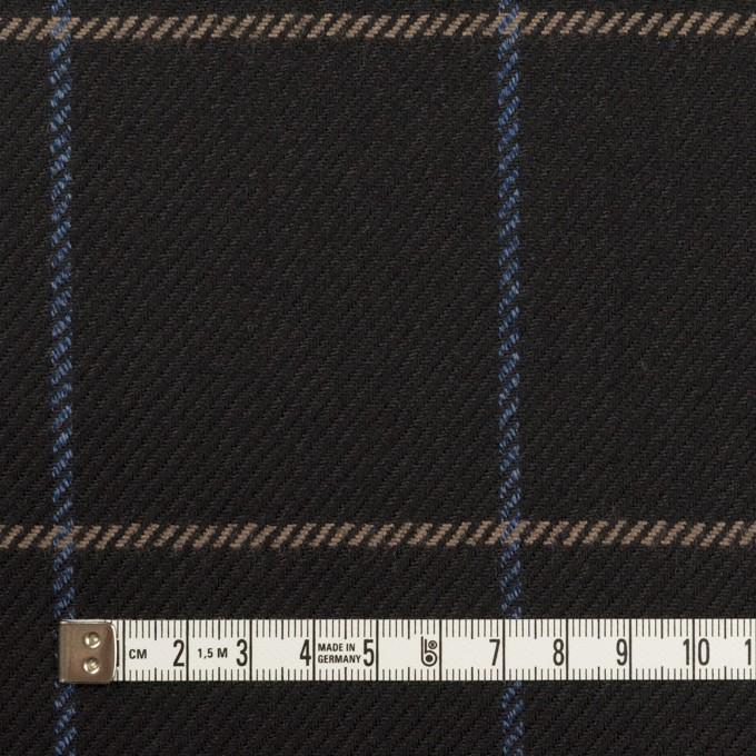 ウール×チェック(ブラック、オークル&ブルー)×サキソニー イメージ4