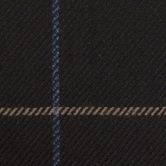 ウール×チェック(ブラック、オークル&ブルー)×サキソニー