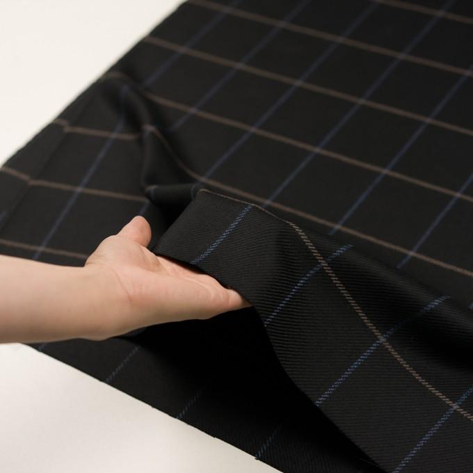 ウール×チェック(ブラック、オークル&ブルー)×サキソニー イメージ5