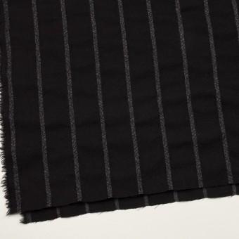 ウール×ストライプ(ブラック&チャコールグレー)×ガーゼ サムネイル2