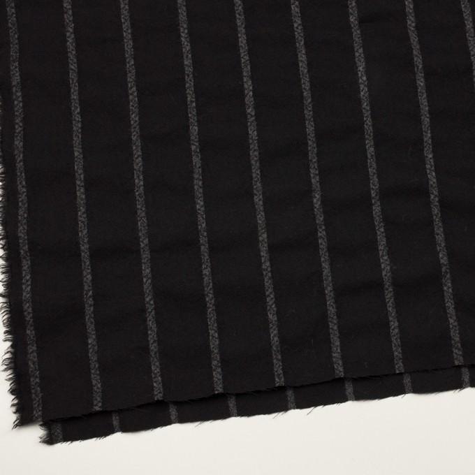 ウール×ストライプ(ブラック&チャコールグレー)×ガーゼ イメージ2