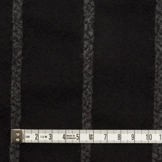 ウール×ストライプ(ブラック&チャコールグレー)×ガーゼ イメージ4