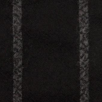 ウール×ストライプ(ブラック&チャコールグレー)×ガーゼ