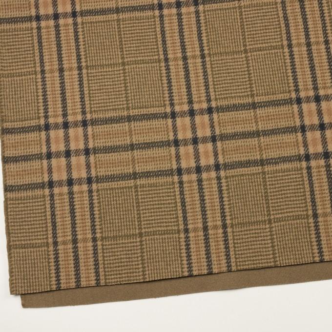 ウール×チェック(ベージュ、モカ&カーキグリーン)×かわり織 イメージ2