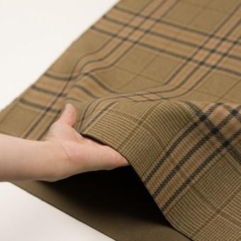 ウール×チェック(ベージュ、モカ&カーキグリーン)×かわり織 サムネイル5