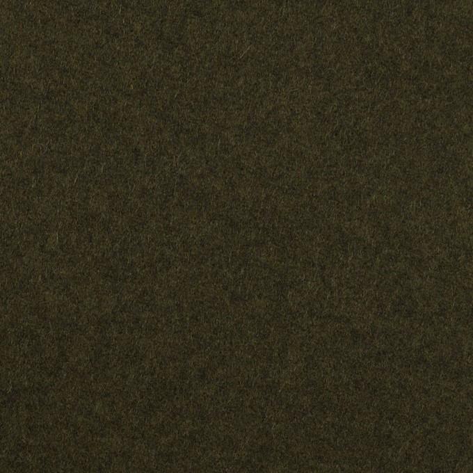 ウール×無地(ディープカーキグリーン)×フラノ(フランネル) イメージ1
