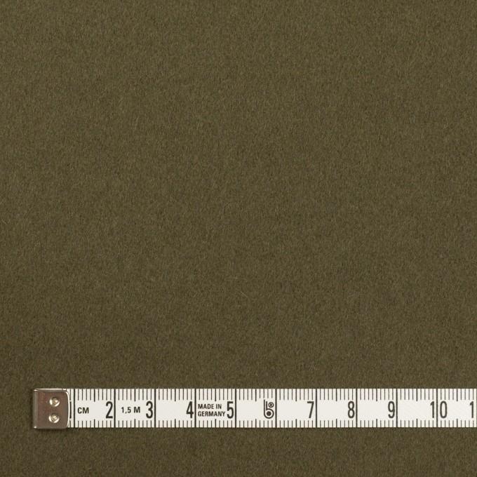 ウール×無地(カーキグリーン)×フラノ(フランネル) イメージ4
