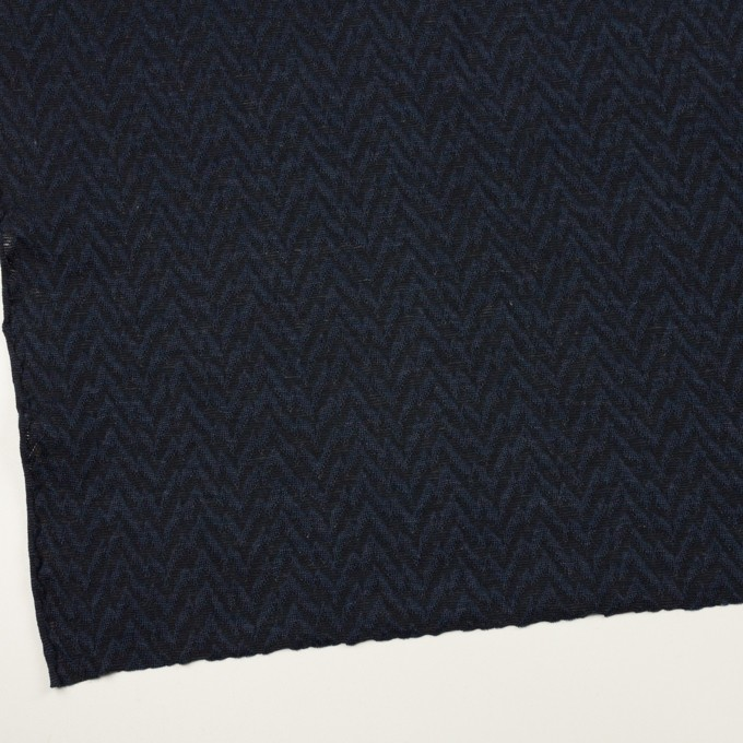 ウール&ポリエステル混×ウェーブ(ネイビー&ダークネイビー)×ジャガードニット イメージ2