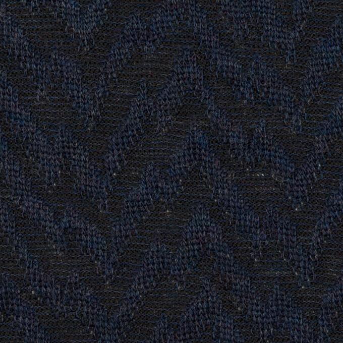 ウール&ポリエステル混×ウェーブ(ネイビー&ダークネイビー)×ジャガードニット イメージ1